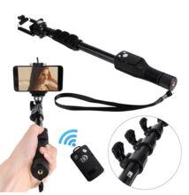 Bluetooth teleskopický výložník selfie tyč s diaľkovým ovládačom