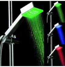 LED sprchová hlavica meniaca farbu hranatá