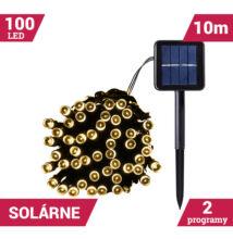 LED svetelné reťaze solárne 100LED zelený kábel 10m TEPLÁ BIELA farba