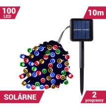 LED svetelné reťaze solárne 100LED zelený kábel 10m VIACFAREBNÉ