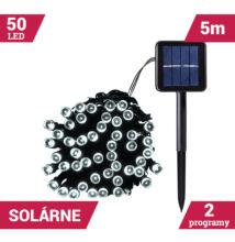 50LED solárne reťaze zelený kábel 5M STUDENÝ BIELY