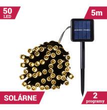 50LED solárne reťaze zelený kábel 5M TEPLÝ BIELY