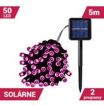 50LED solárne reťaze zelený kábel 5M RUŽOVÝ