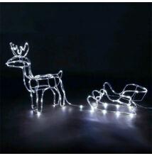 LED dekorácia vianočný sob so saňami 60cm vnútorné vonkajšie použite STUDENÝ BIELY