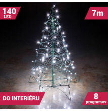 LED svetelné reťaze 140LED zelený kábel studená biela farba