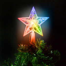 Vianočná LED hviezda na špic stromu 10LED 15cm RGB 58034