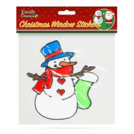 Vianočná dekorácia na okno snehuliak 18 x 18 cm 58258B
