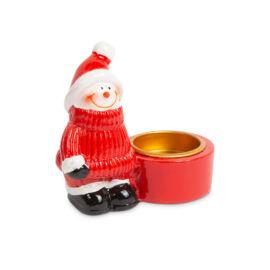 Vianočný držiak na čajové sviečky snehuliak 58259