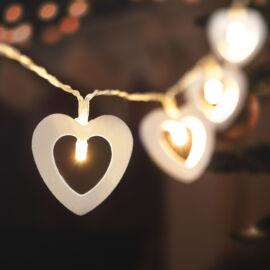 LED sveteľná reťaz srdce teplá biela 2 x AA 2,85 m