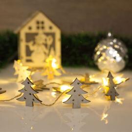 Vianočný drevený štipec s teplým LED svetlom v tvare stromu