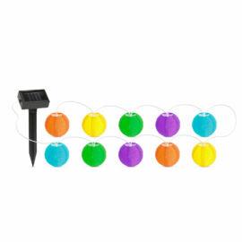Reťaz zo solárnych lampiónov 10 ks farebných lampiónov 3,7 m