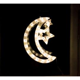 LED dekorácia do okna mesiac 40cm teplá biela