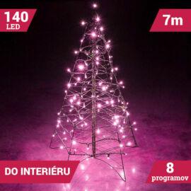 LED svetelné reťaze 140LED zelený kábel ružová farba