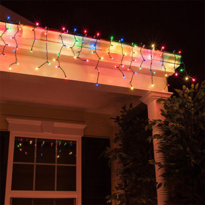LED vianočná svetelná reťaz cencúľ zelený kábel 7m Viacfarebná
