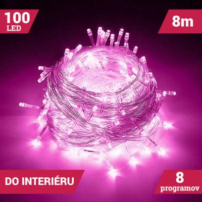 LED Svetelné reťaze 100LED ružové