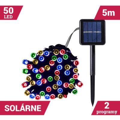 50LED solárne reťaze zelený kábel 5M VIACFAREBNÝ