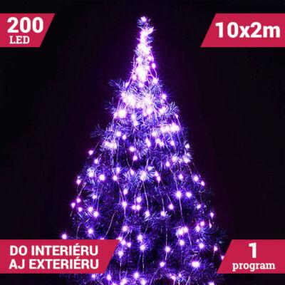 Zväzok LED svietiacich reťazcov micro 10 vetiev 200LED fialový