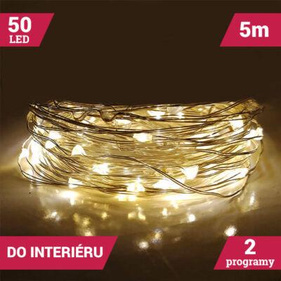 LED dekoračný svetelný drôt 5m 50LED TEPLÝ BIELY
