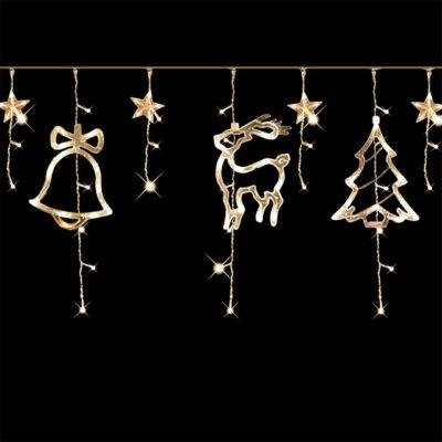 Vianočná dekorácia na okno hviezda snehuliak sob LED 3m teplá biela