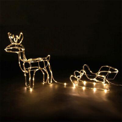 LED dekorácia vianočný sob so saňami 60cm vnútorné vonkajšie použite TEPLÝ BIELY