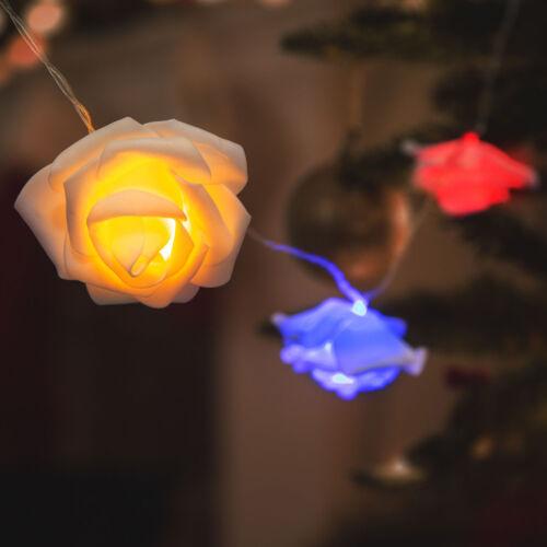 LED sveteľná reťaz ruža 10 LED farebná 2 x AA 1,9 metrov