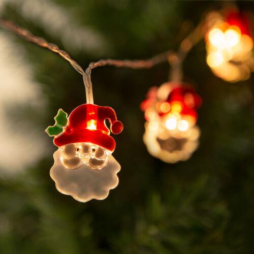 Vianočná LED sveteľná reťaz mikuláš 10 LED 2 x AA 1,35 m