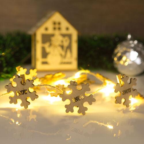 Vianočný drevený štipec s teplým LED svetlom v tvare snehovej vločky