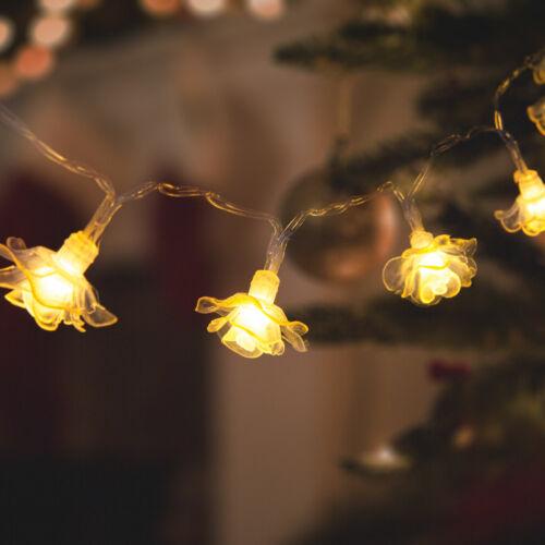 LED svetelná reťaz kvet 20 LED teplá biela 3 x AA 2,3 m