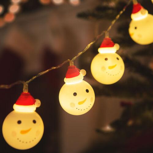 LED svetelná reťaz snehuliak 10 LED teplá biela 3 x AA 1,1 m
