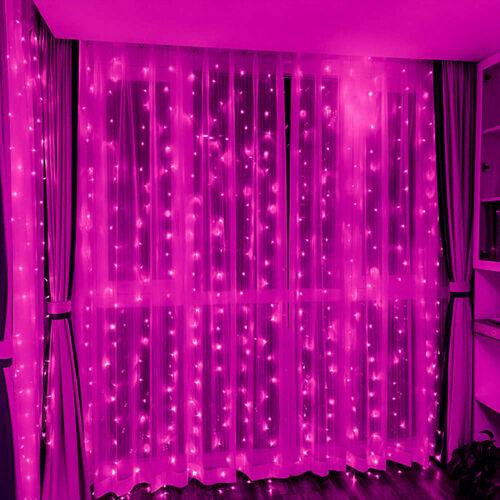 LED Záves 2x1,5m ružový